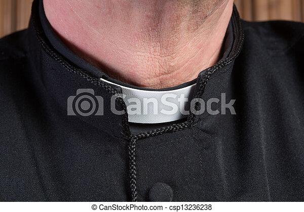 Priest clerical collar - csp13236238