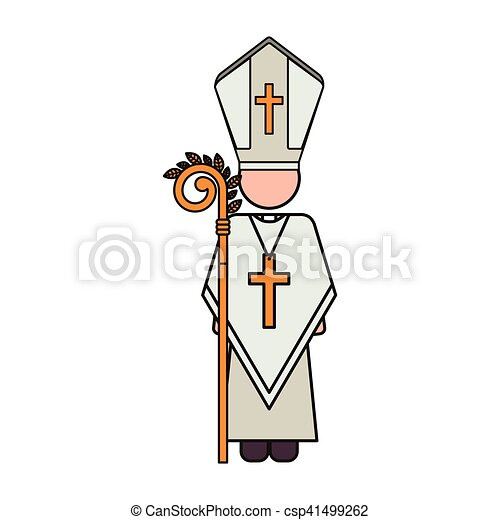 priest with religion icons - csp41499262