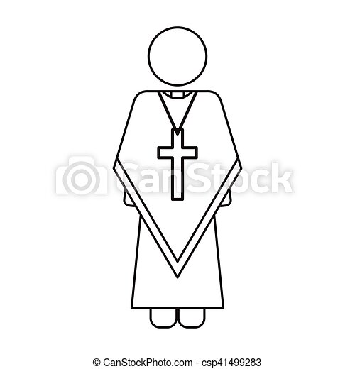 priest with religion icons - csp41499283