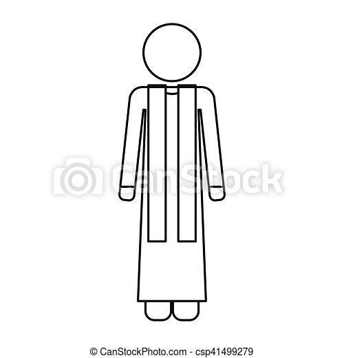 priest with religion icons - csp41499279