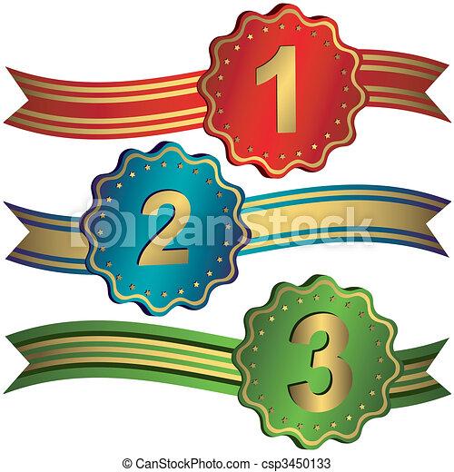 prijzen, set, linten, sterretjes, (vector) - csp3450133