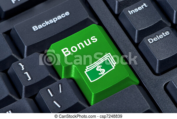 Un bono de clave de botón con símbolo de dinero. - csp7248839