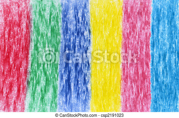 Primary And Secondary Colors In Crayon On White Paper Stock Illustration