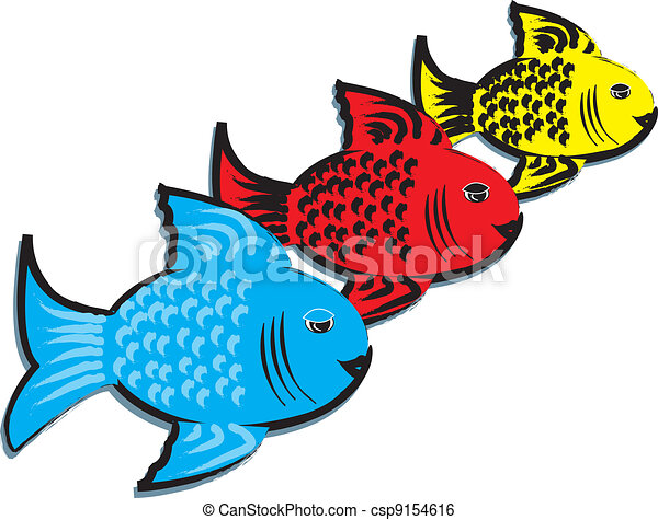 Primary Colored Fishes Simple Background With Three