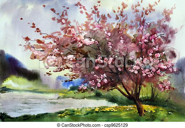 Un paisaje de pintura acuarela con floreciente árbol de primavera con flores. - csp9625129