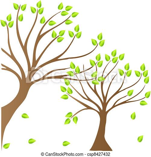 Ilustracin vectorial de primavera rboles logotipo  Spring