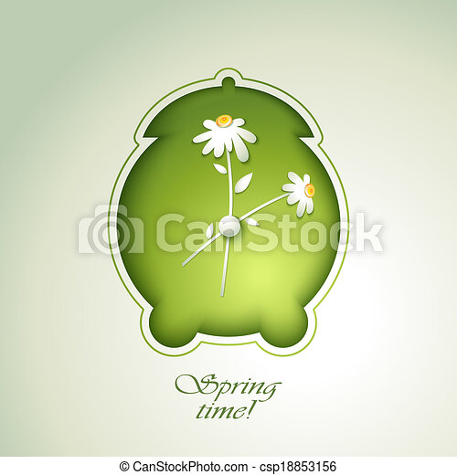primavera, alarma, flores, verde, reloj - csp18853156