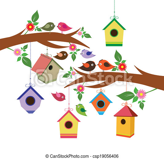 Birdhouse para la primavera - csp19056406