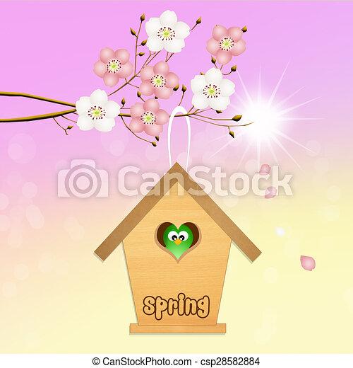 Birdhouse en primavera - csp28582884