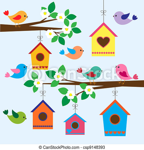 primavera, birdhouses - csp9148393