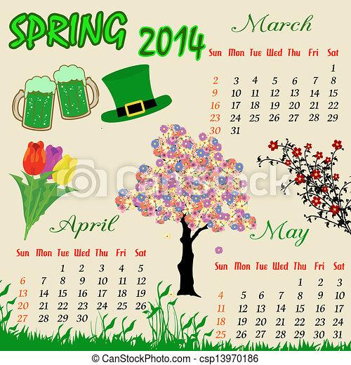 calendario de primavera para 2014 - csp13970186