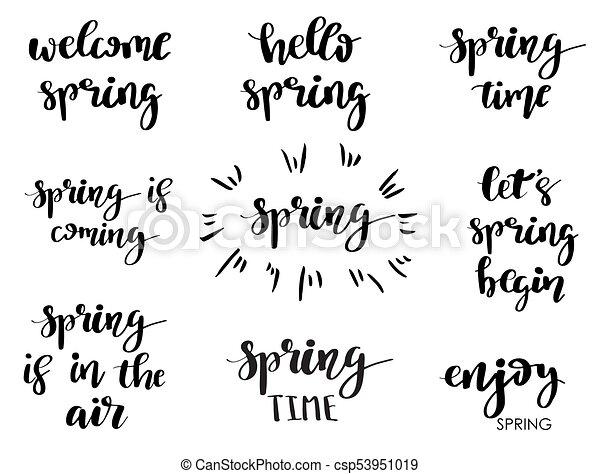 Las Frases De Primavera La Caligrafía Moderna Cita A Mano Y