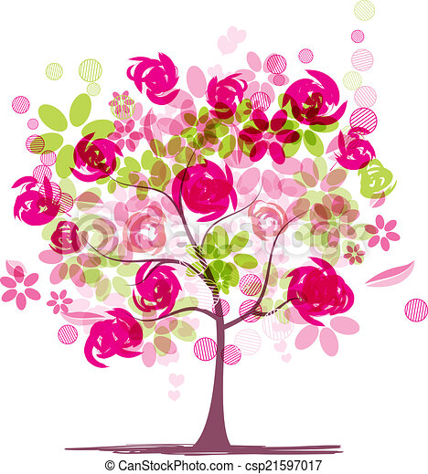 primavera, desenho, árvore, seu, rosas - csp21597017