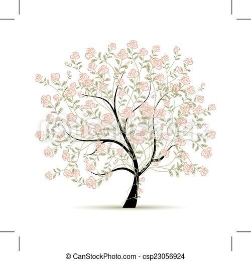primavera, desenho, árvore, seu, rosas - csp23056924