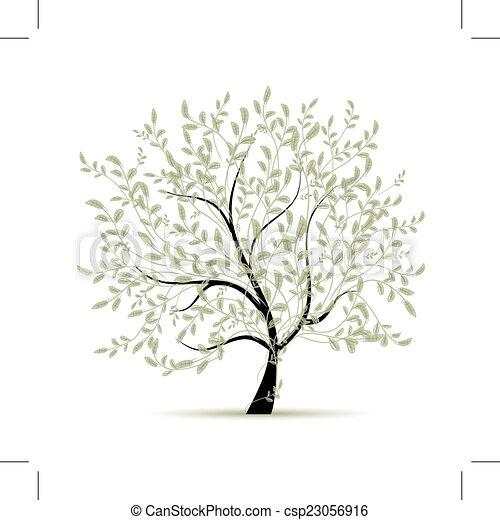 primavera, desenho, árvore, verde, seu - csp23056916