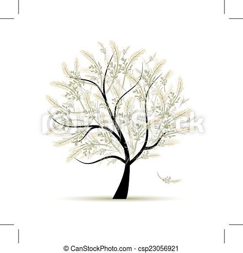 primavera, desenho, árvore, verde, seu - csp23056921