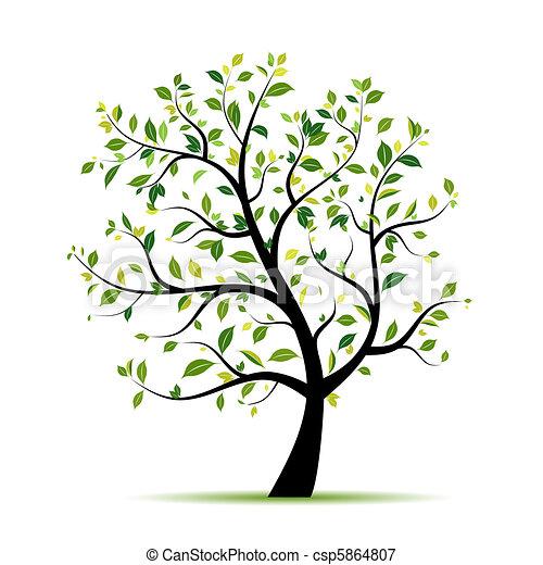 primavera, desenho, árvore, verde, seu - csp5864807