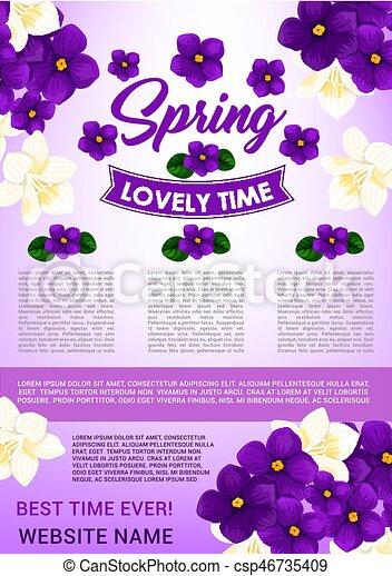 Primavera Desenho Modelo Cartaz Floral Olá Primavera