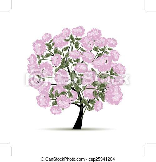 primavera, diseño, flores, árbol, su - csp25341204