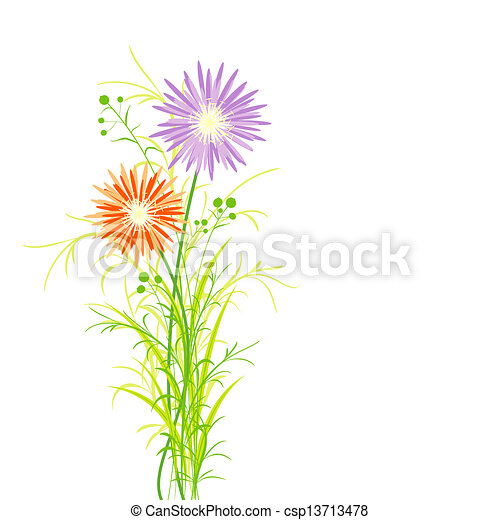 primavera, flor, colorido, tarjeta, saludo - csp13713478