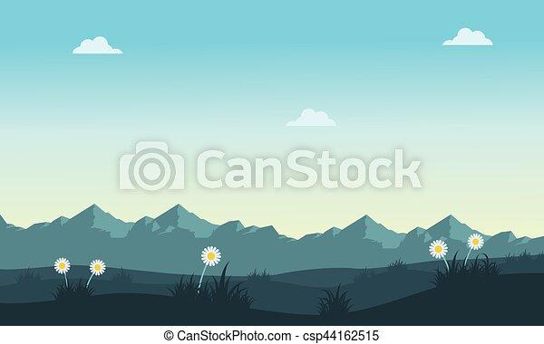 Paisaje de primavera con fondo de montaña - csp44162515