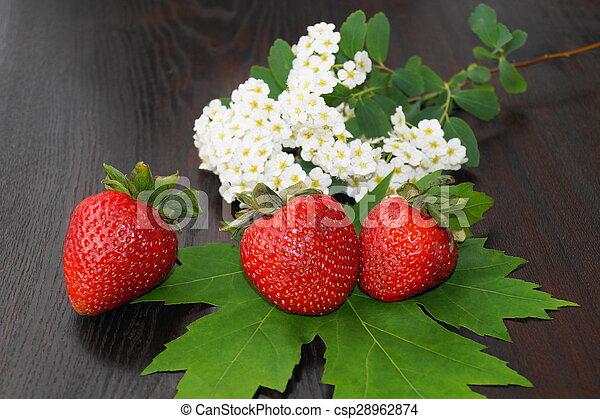 Fresas y flores de primavera - csp28962874