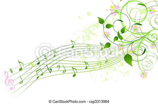 primavera, fundo, canção - csp3313984