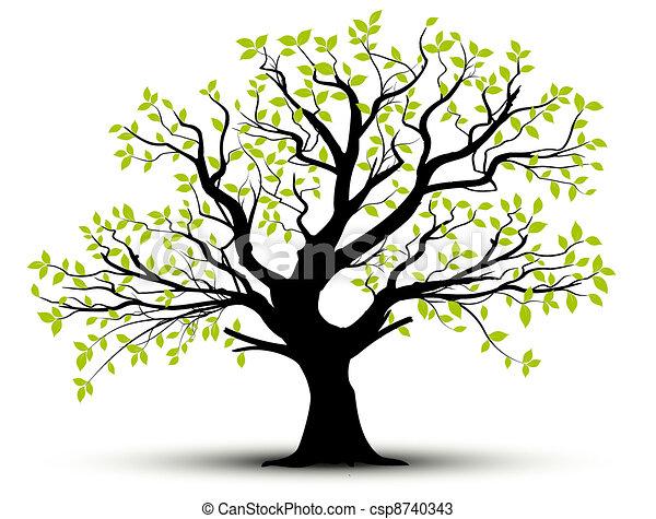 Vector, árbol de primavera y hojas - csp8740343