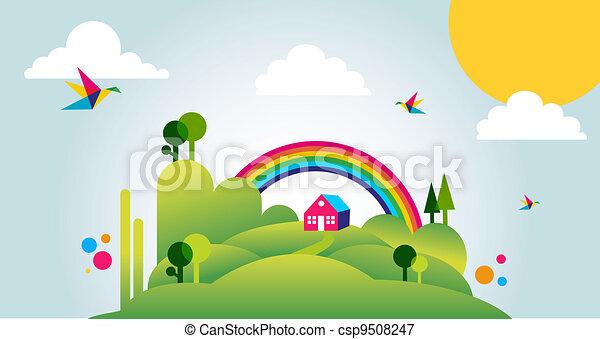 primavera, illustrazione, fondo, tempo, paesaggio, felice - csp9508247