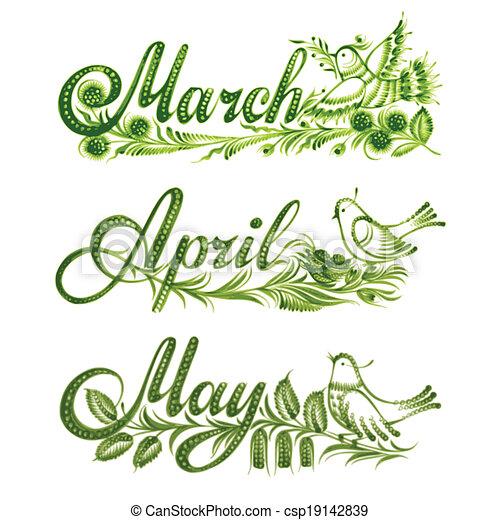 primavera, jogo, nome, mês - csp19142839