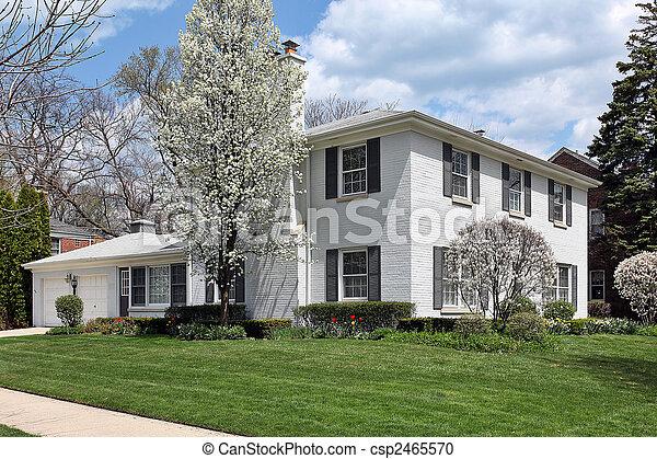 Casa de ladrillo blanco en primavera - csp2465570