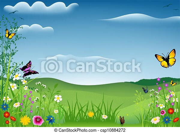 Paisaje de primavera con mariposas - csp10884272