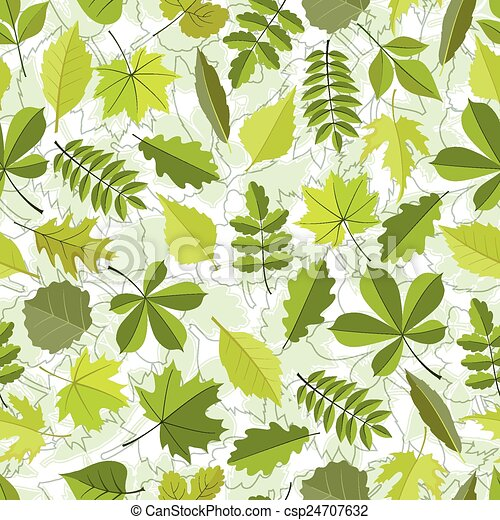 primavera, modello, leaves., seamless - csp24707632