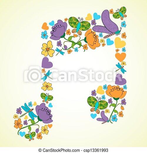 primavera, musica, fondo - csp13361993