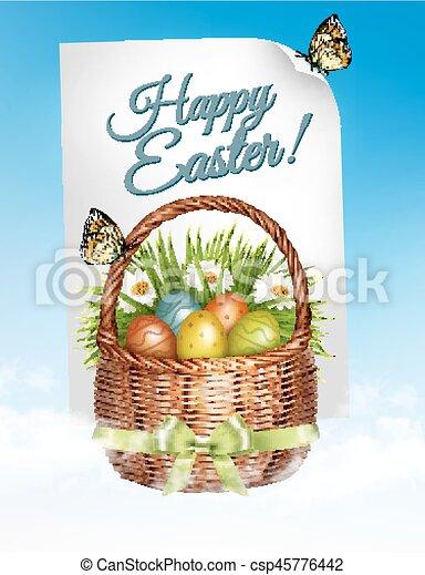 primavera, ovos, experiência., flowers., vector., cesta, páscoa - csp45776442