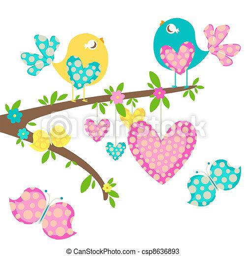 primavera, pássaros - csp8636893