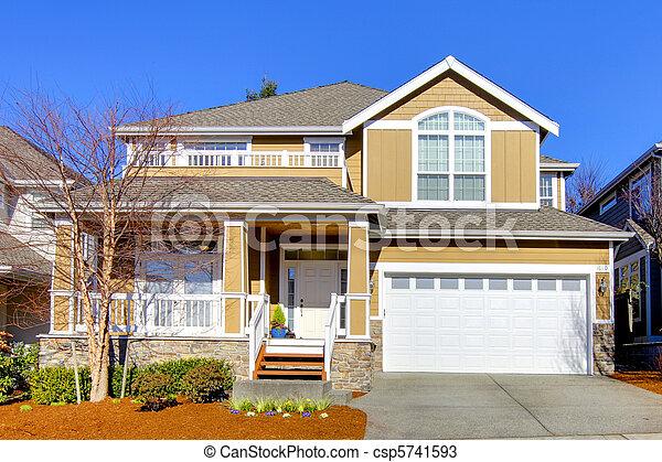 primavera, paesaggio., riscaldare, beige, casa - csp5741593