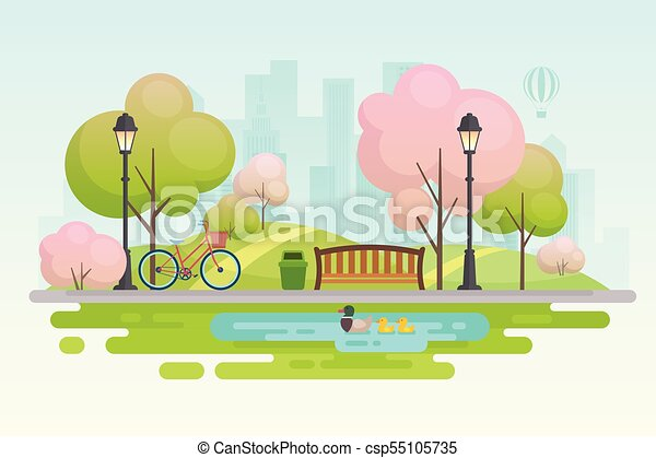primavera, park., città - csp55105735