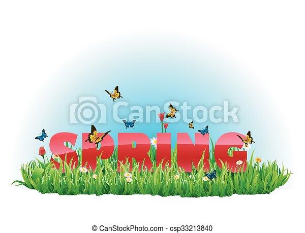 primavera, pradera verde, su - csp33213840
