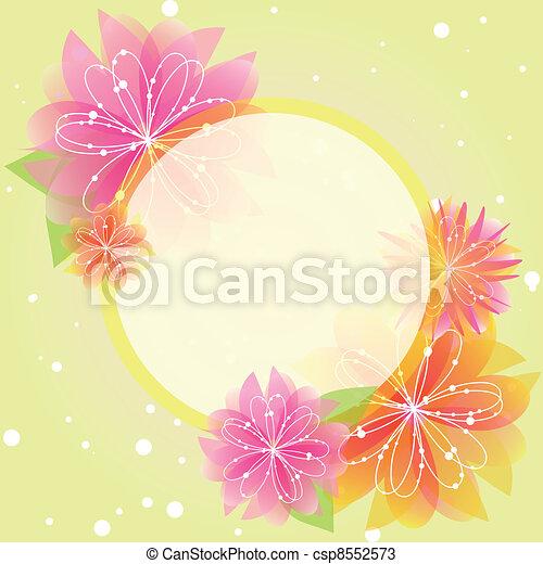 primavera, resumen, flor, tarjeta de felicitación - csp8552573