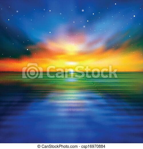 Trasfondo de primavera abstracto con atardecer marino - csp16970884