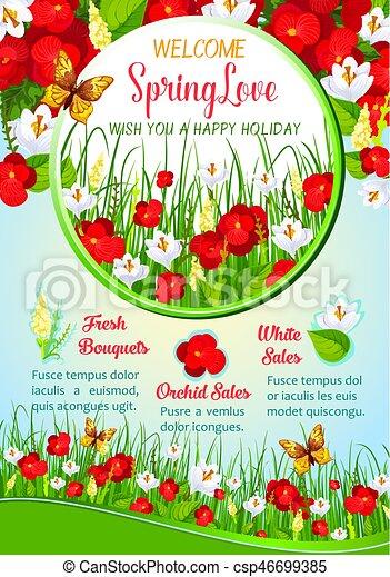 Primavera Saudação Desenho Modelo Cartaz Flores