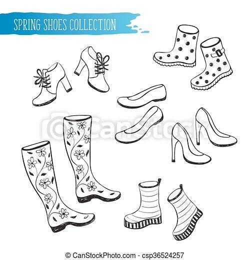 primavera, scarpe, collezione - csp36524257