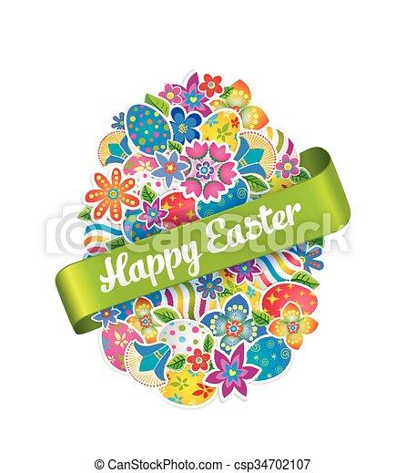 primavera, simbolo, uovo di pasqua, flower.2 - csp34702107