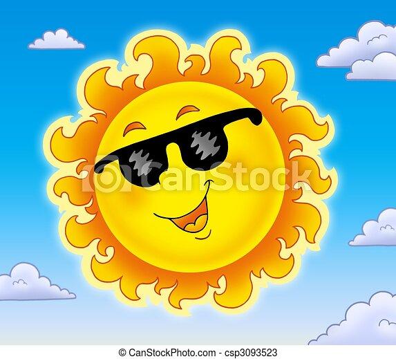 Primavera, sol, gafas de sol, cielo. Gafas de sol, illustration ...
