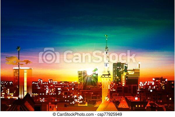 primavera, tallinn, blu, astratto, panorama, sfondo verde, tramonto - csp77925949