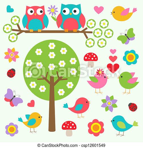primavera, uccelli, foresta, gufi - csp12601549