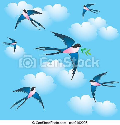 Primavera uccelli primavera seamless fondo uccelli - Primavera uccelli primavera colorazione pagine ...