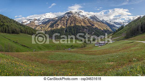 primavera, valle, tempo, montagna - csp34631618