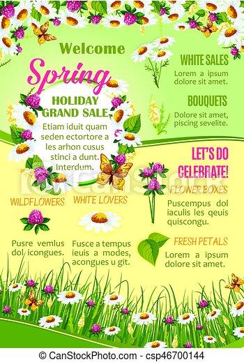 Primavera Venda Desenho Modelo Cartaz Flores